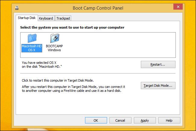 chọn mặc định hành hệ thống với khởi động windows trên Mac